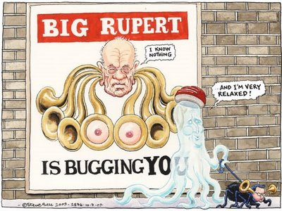 Rupert Murdoch and the phone hacking scandal, cartoon