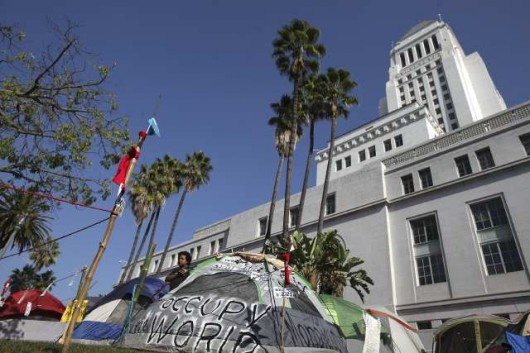 Occupy Los Angeles protest tents outside City Hall