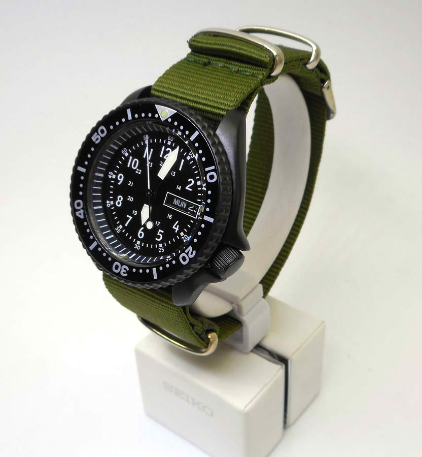Pre Sale Skx007 7s26 Black Cerakote 24 Hr Military Dial Seiko Divers