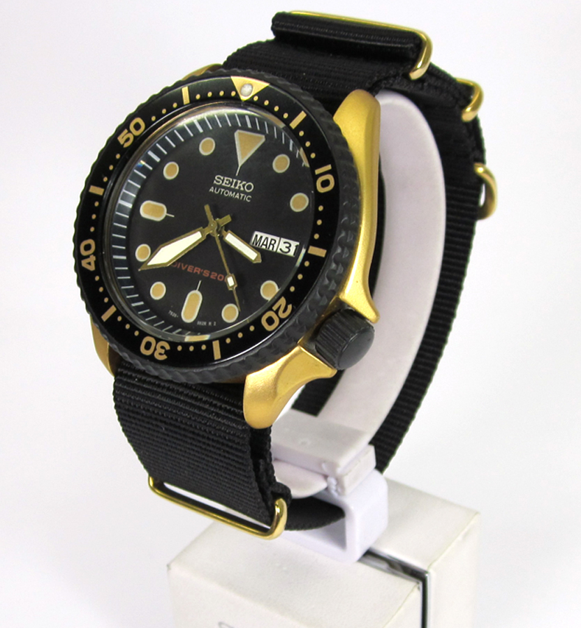 Available now! Seiko Mod SKX007 Gold Black Cerakote Patina Dial Ploprof  hands - Mad Mod World
