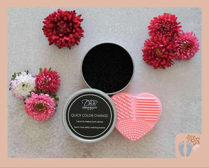 Lieferinhalt: Trockener Schwamm und Pad für die Reinigung von Make-up-Pinsel