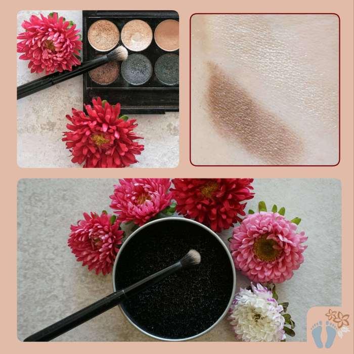 Verwendung des Schwamms für die Reinigung von Make-up-Pinsel