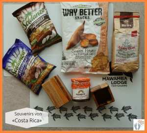 Souvenirs: Chips aus Süßkartoffeln, Yuquitas- und Malangawurzeln; Kaffee; Ananas-Marmelade; Stiftebecher aus Holz; Tischsets der «Maswamba Lodge» {Costa Rica}