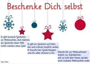 """Weihnachtsdekoration: Anhänger: Schneeflocke, Stern und Kugel. Sowie das Weihnachtsgedicht """"Beschenke Dich selbst"""" von Alfons Pillach."""