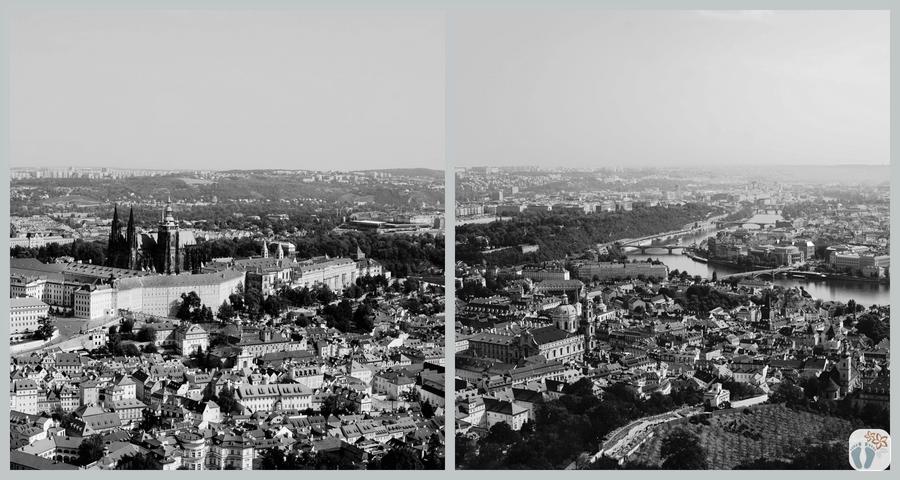 «Prag» aus der Vogelperspektive - vom Aussichtsturm am «Petřín-Hügel»   schwarz-weiß Fotografie {Reisetagebuch Prag}