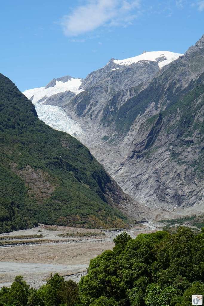 Blick auf den «Franz Josef Glacier» {Reisetagebuch «Roadtrip durch Neuseeland mit dem Bus»}