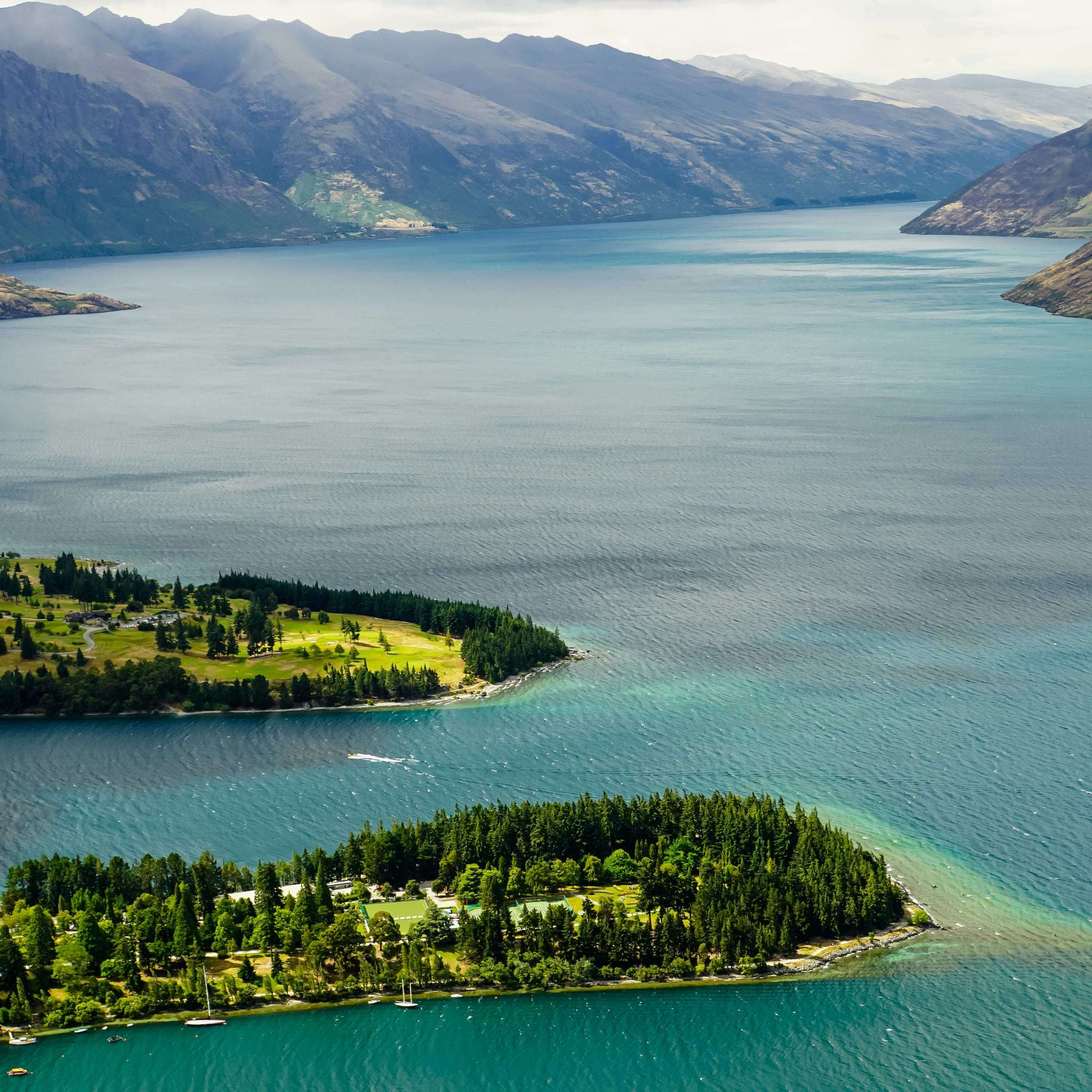 Blick auf «Queenstown» mit «Queenstown Bay», «Queenstown Gardens» und «Lake Wakatipu» {Reisetagebuch «Roadtrip durch Neuseeland mit dem Bus»}