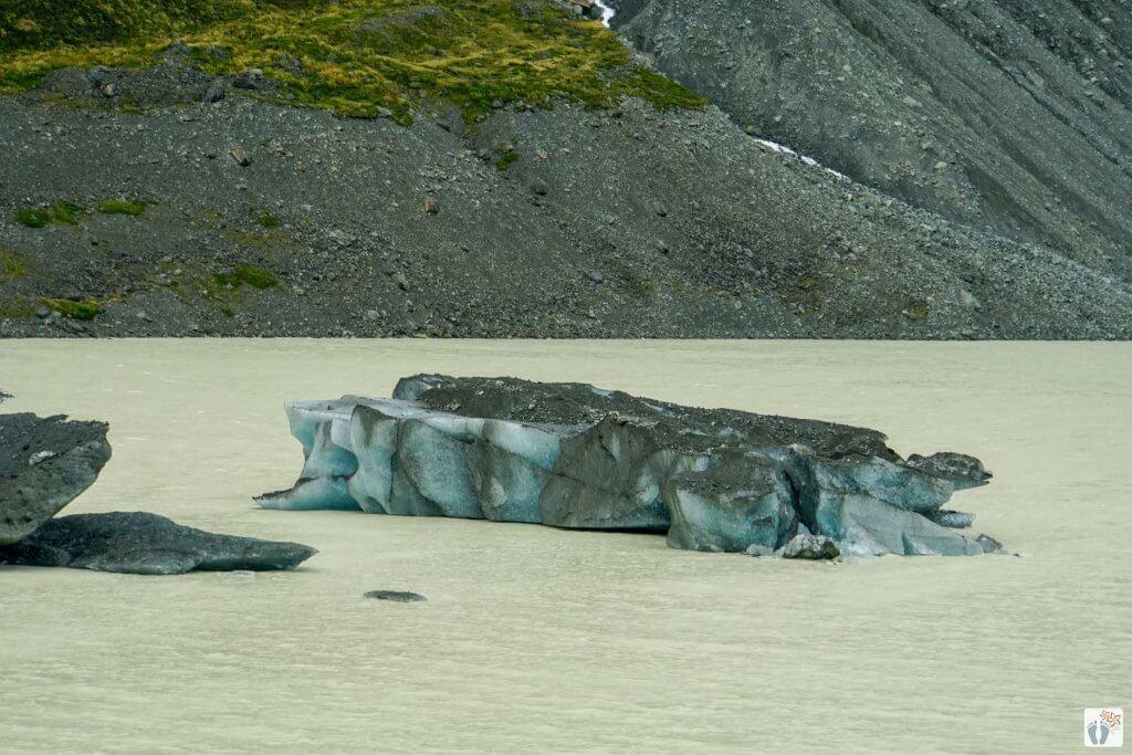 beim Gletschersee «Hooker Lake» {Reisetagebuch «Roadtrip durch Neuseeland mit dem Bus»: Aoraki-Mount Cook}