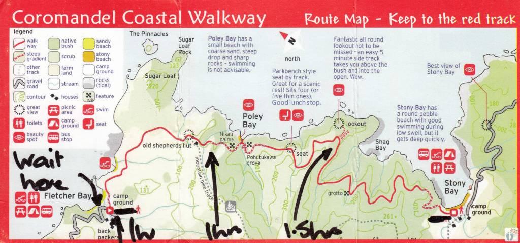 Coastal Walkway: Wanderkarte {Reisetagebuch «Roadtrip durch Neuseeland mit dem Bus»: Northern Coromandel}