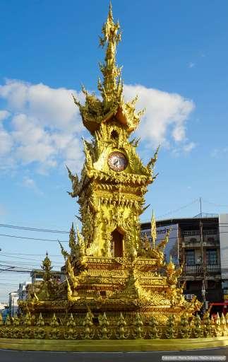 Goldener Uhrturm in Chiang Rai (Reisetagebuch «Thailand als Alleinreisende ohne Roller entdecken»)