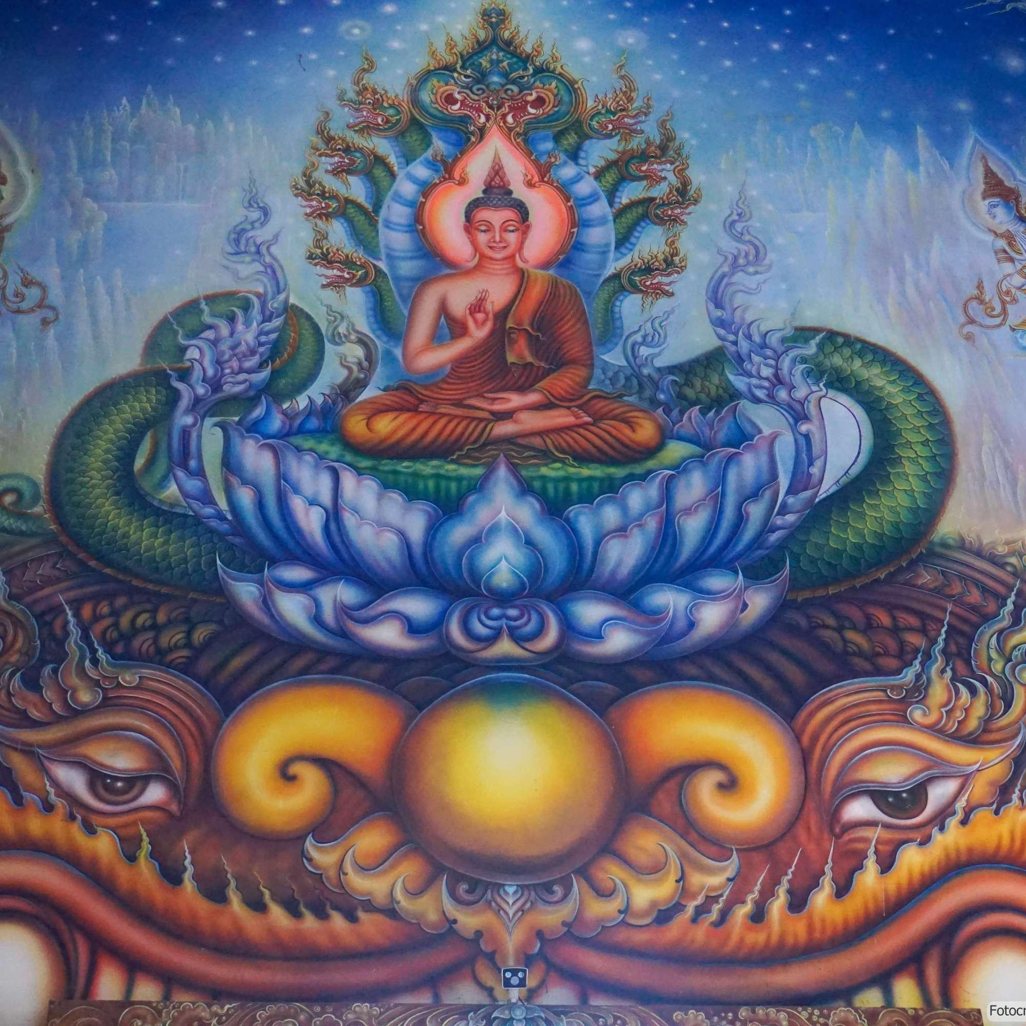 Wat Rong Suea Ten (Blauer Tempel) in Chiang Rai - Darstellung der Hölle im Ubosot (Reisetagebuch «Thailand als Alleinreisende ohne Roller entdecken»)