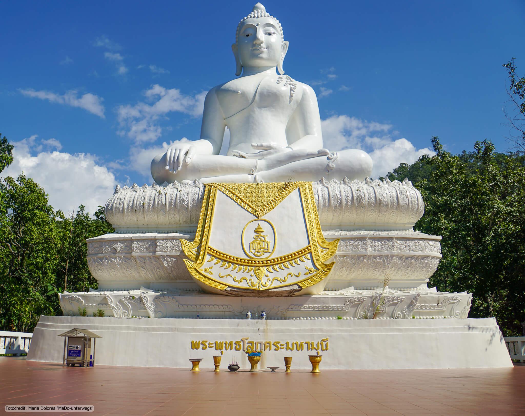 White Buddha (Wat Phra That Mae Yen) in der Nähe von Pai (Reisetagebuch «Thailand als Alleinreisende ohne Roller entdecken»)