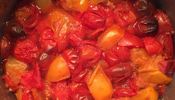 Kogte tomater klar til blenderen