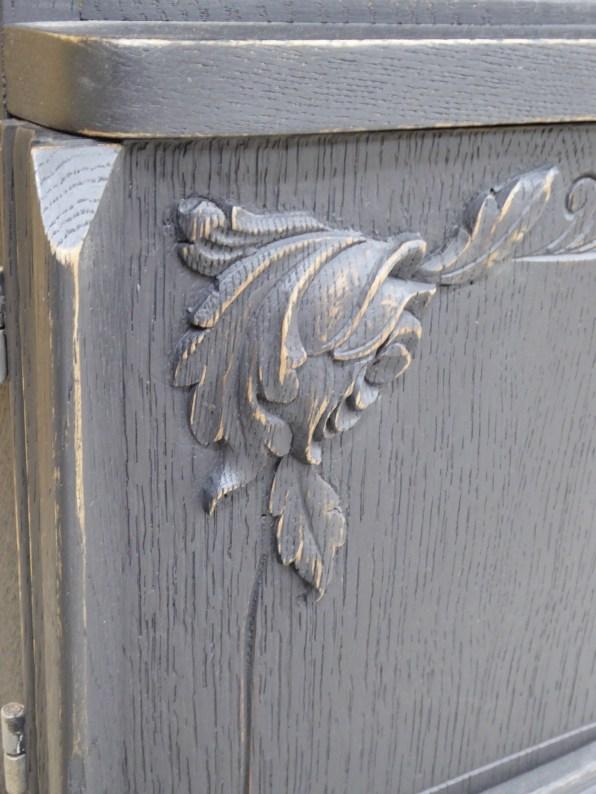 renovation rénovation relooking meuble chevet vintage année 30 chêne noir peinture usure patine