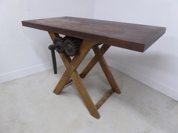 relooking création acier rouille Indus industriel meubles console bois machine ancienne