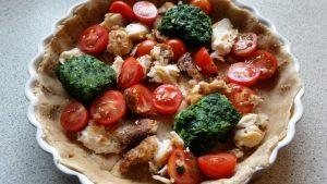 Tærte med tomat, spinat og kuller