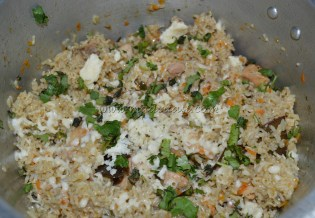 With garted cheese and coriander leaves