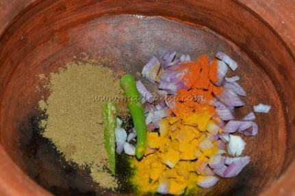 With onions, green chili and spice powders