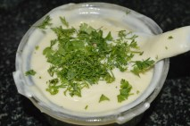 With coriander leaves