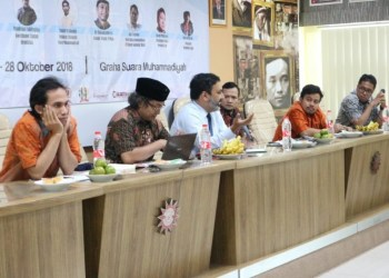 "Atase Pers dan Juru Bicara Kedutaan Besar Amerika Serikat, Rakesh Surampudi saat berbicara dalam seminar dan workshop ""Peace Stories for Peace Islamic Society"" di Graha Suara Muhammadiyah, Yogyakarta, Sabtu (28/10)."
