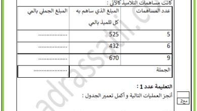Photo of تقييم في مادة الرياضيات لتلاميذ السنة 4 الثلاثي الأول