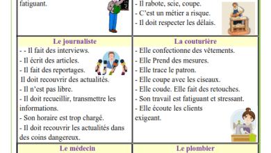 Photo of Expressions sur les métiers : médecin – menuisier – journaliste – couturière – instituteur et plombier