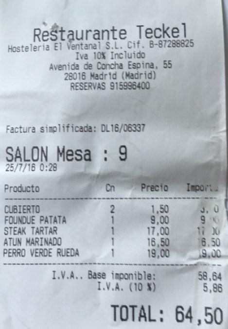 Restaurante Teckel Madrid Bernabeu