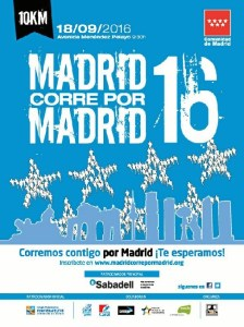 Cartel de la carrera 'Madrid corre por Madrid 2016'.