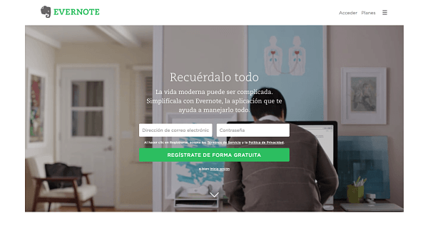 Landing pages para generar leads - Evernote