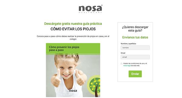 Landing pages para generar leads - NOSA Healthcare