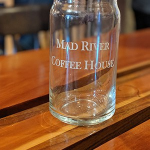 Mad River Coffee House glass tumbler