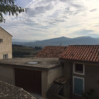 View of Mont Ventoux from Mikael Boutin's winery in Rasteau