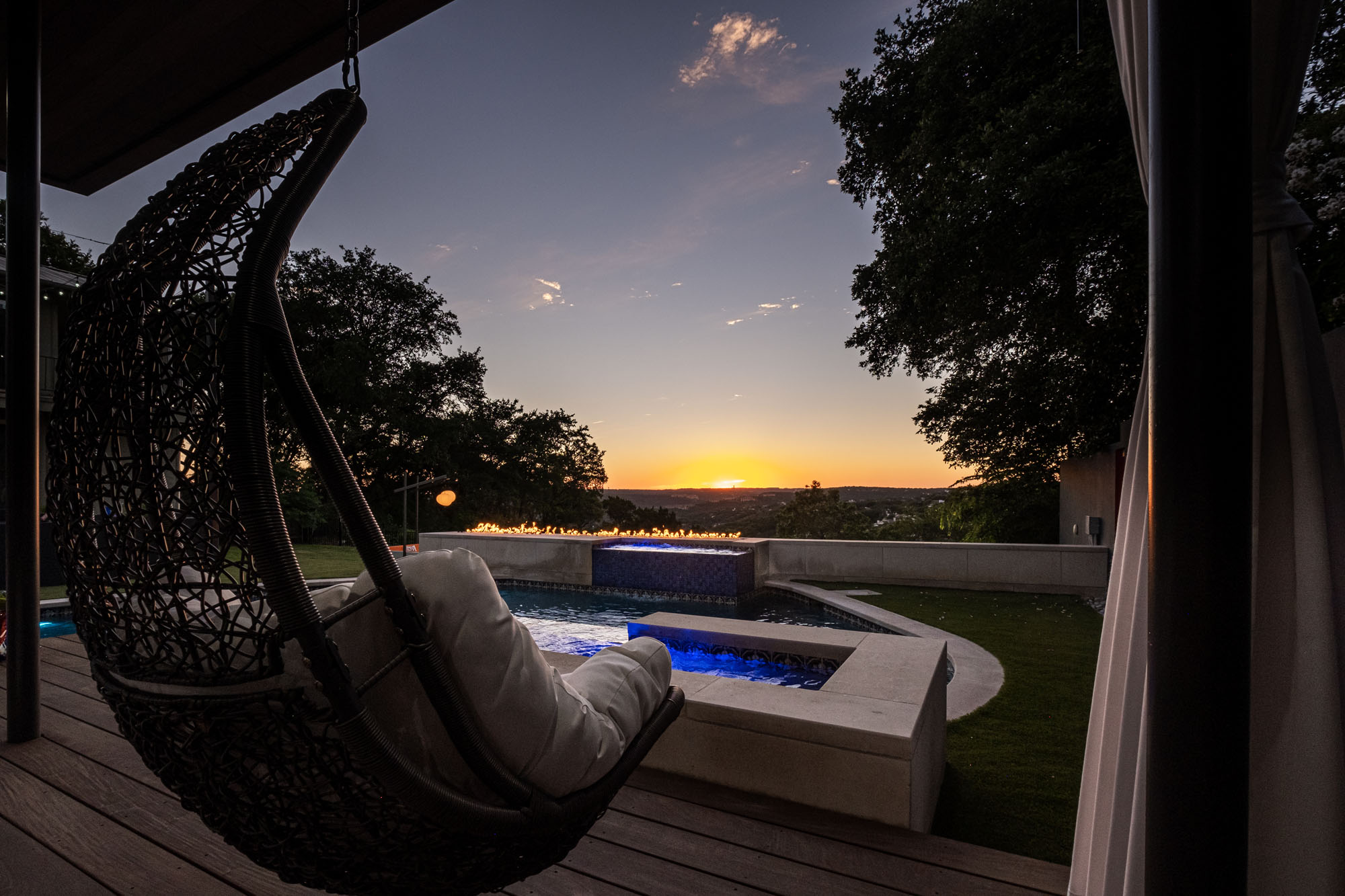 Austin Outdoor Design Pool Sunset