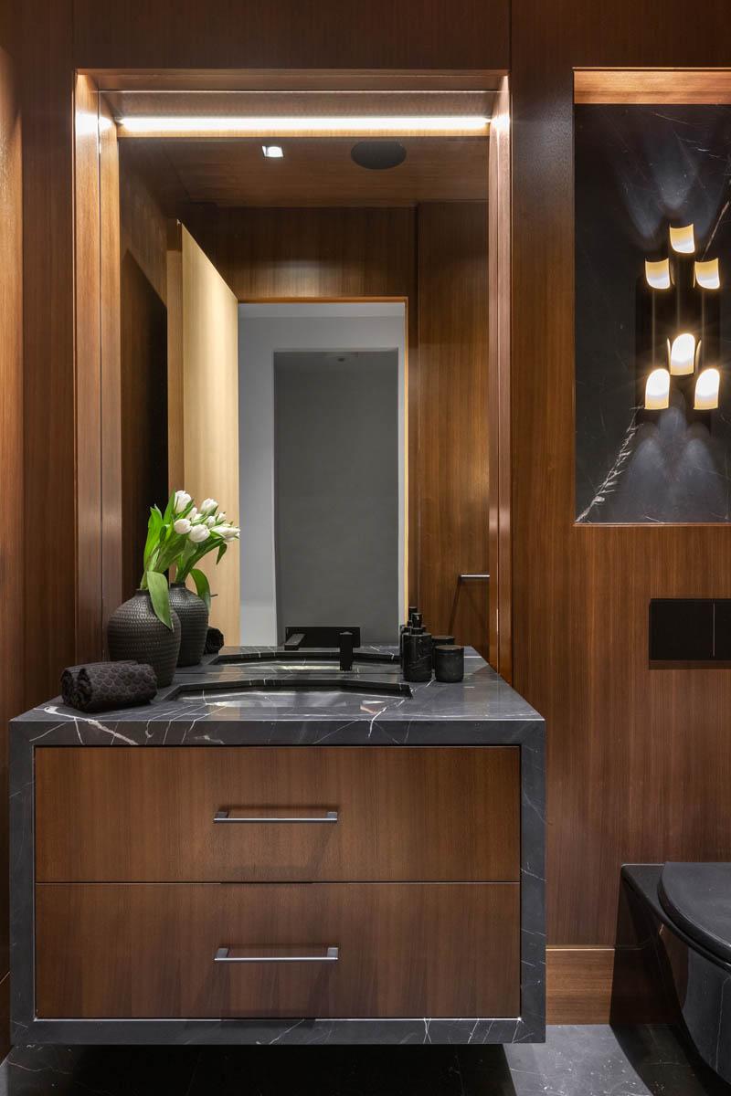 Madeleine Design Group Ocean Bluff Dark Powder Room
