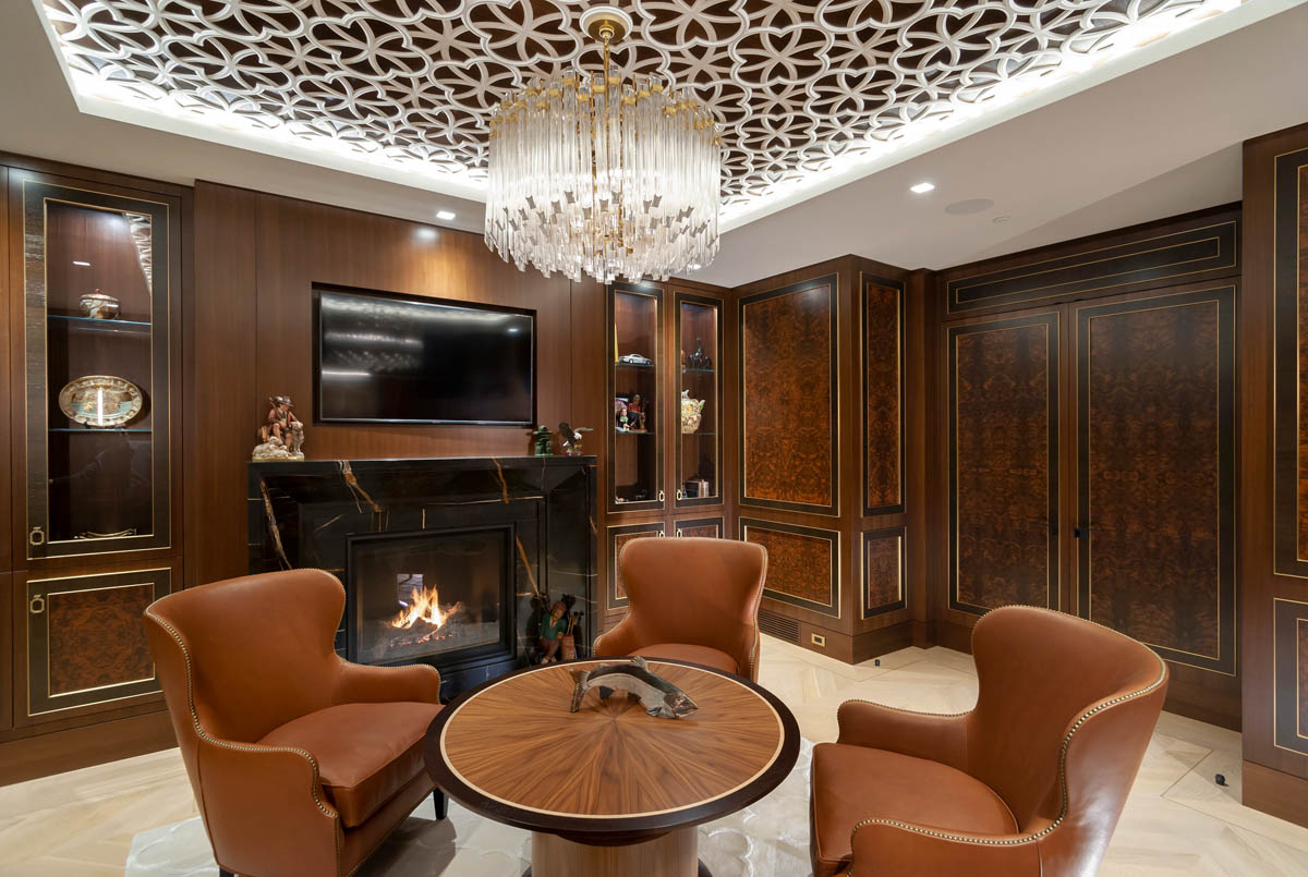Madeleine Design Group Ocean Bluff Study fireplace and ceiling