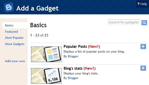 New Blogger Stats Widgets