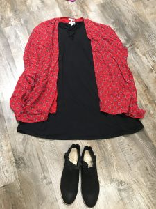 Flat Lay of Outfit with dress, kimono and boots