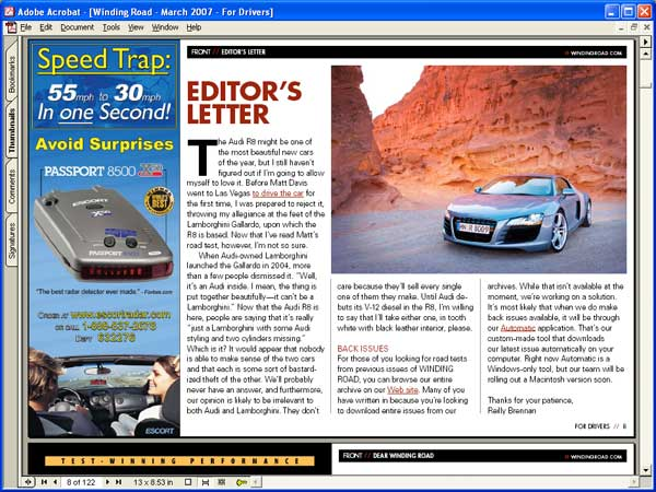 Screenshot of Winding Road magazine as viewed in Adobe Acrobat