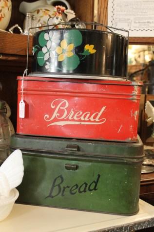 Antique bread tins.