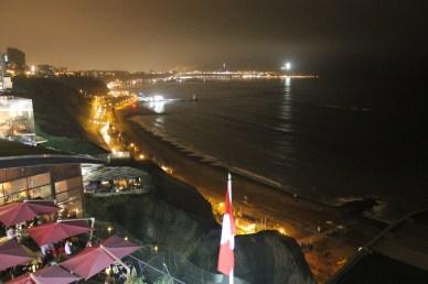 Larcomar mall and the coast of Lima.