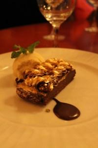 Gilded chocolate brownie a la mode.