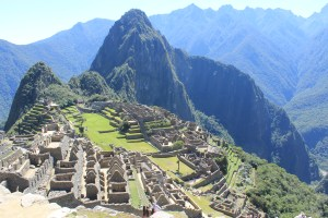 Huayna Picchu behind the Machu Picchu ruins.