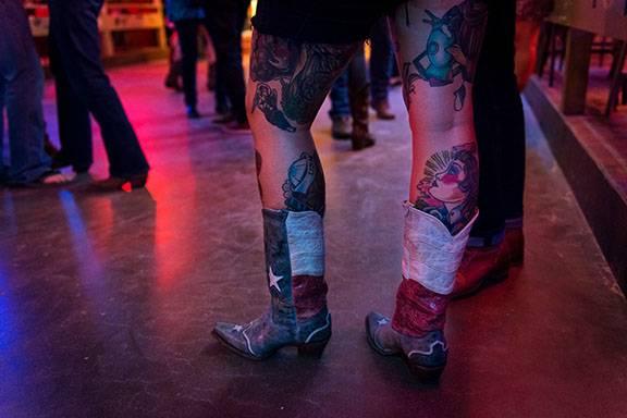 Texas boots on a dancefloor