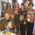 Poet, Jan Cole, seated, Kim Davis, Jacqui Davis, Lorrie Lo, and Joy Pan at the book launch party for Sisypha Larvata Prodeat