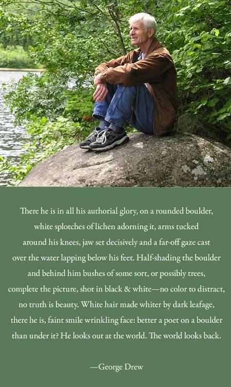 Poet George Drew sitting on his rock