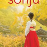 """Sonju by Wondra Chang cover. A woman in a red and white hanbok faces away from the camera towards an old confucian temple and yellow ginko trees. """"Sonju"""" is written in a sans-serif font in bright red at the top of the image. Wondra Chang is written in the same font in white at the bottom of the page."""