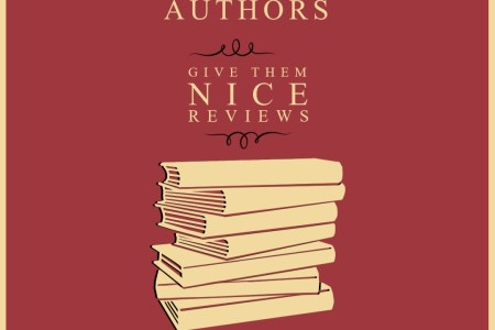 Pale Yellow Lettering and illustrated books stand out on a red background. The text reads: Support Your Fave Authors, Give Them Nice Reviews, Swipe for instructions