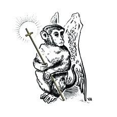 A winged monkey holding a glowing cross by Houston artist, Crowcrumbs. Black and white pen and ink drawing.