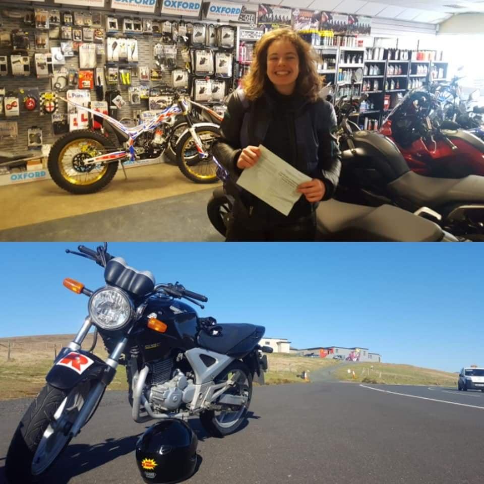 Mae challis passed her bike test 2019