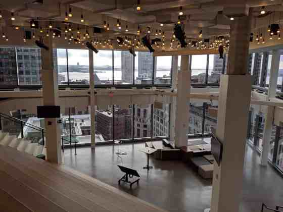 The common theater area for Publicis offices that overlooks the Boston skyline